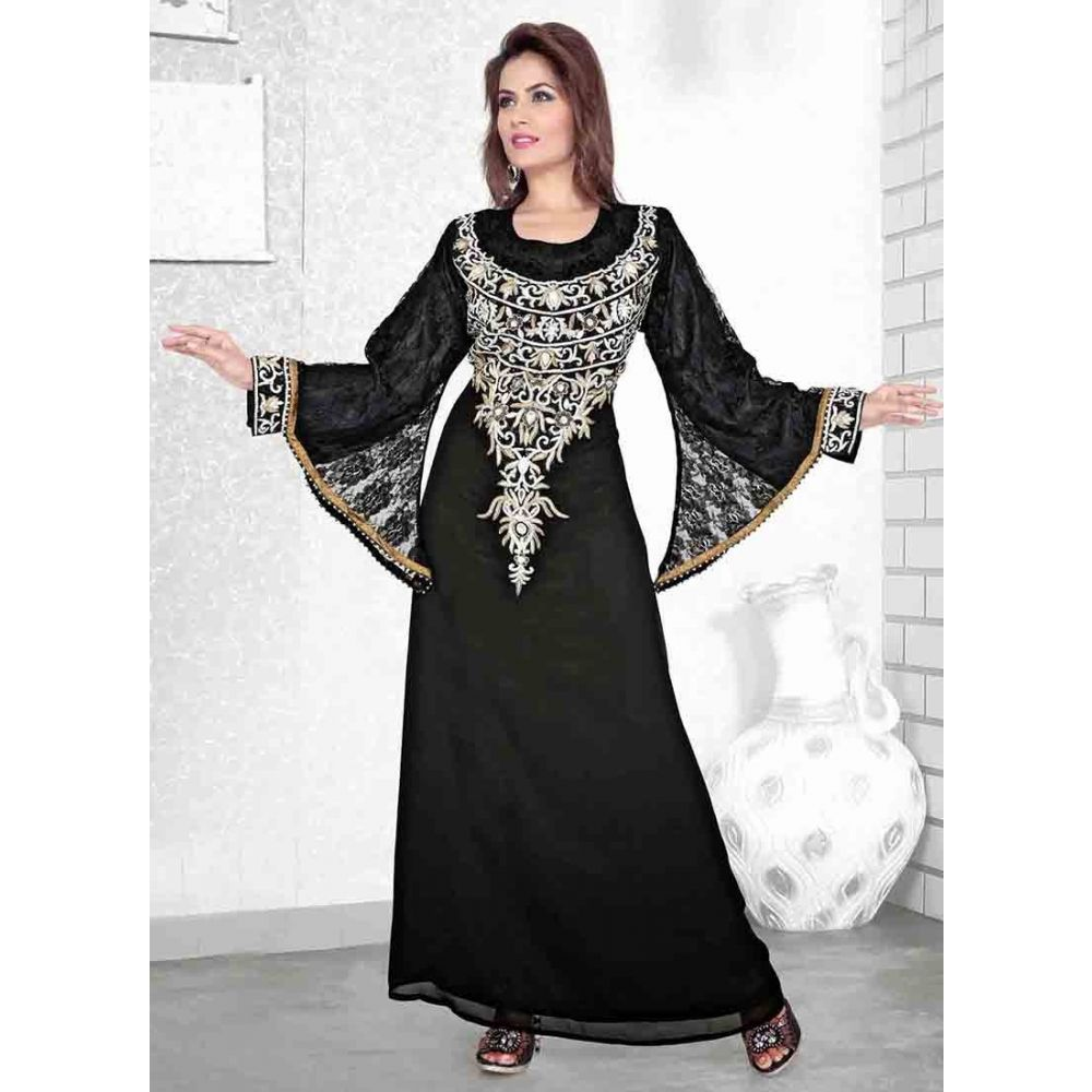 Womens Kaftan Black color Saudi Arabic style
