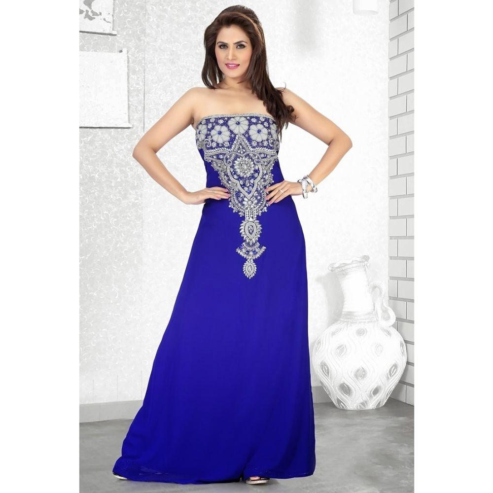 Womens Kaftan Blue color Long Partywear