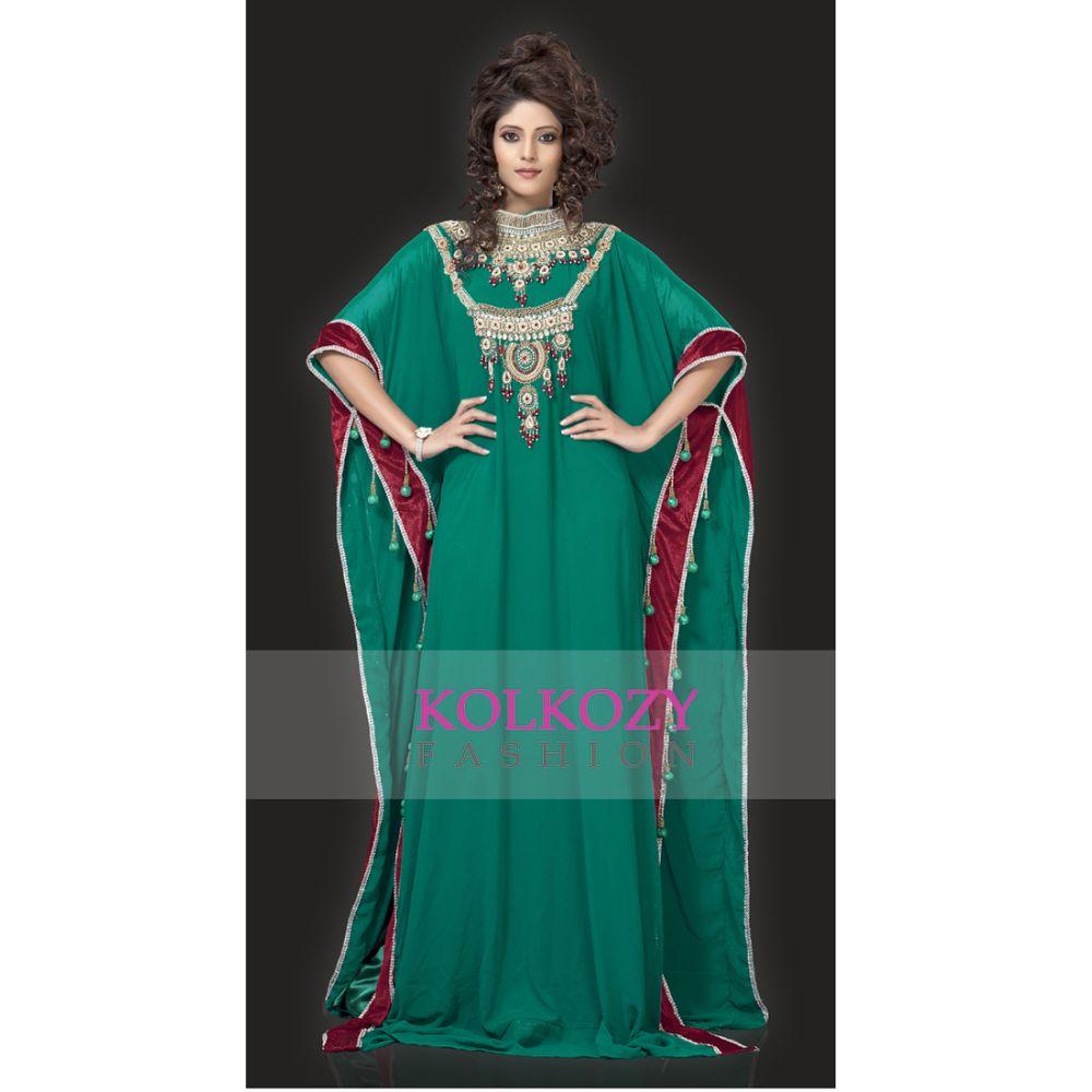 Graceful Bottle Green Color Designer Arabic Kaftan Dress