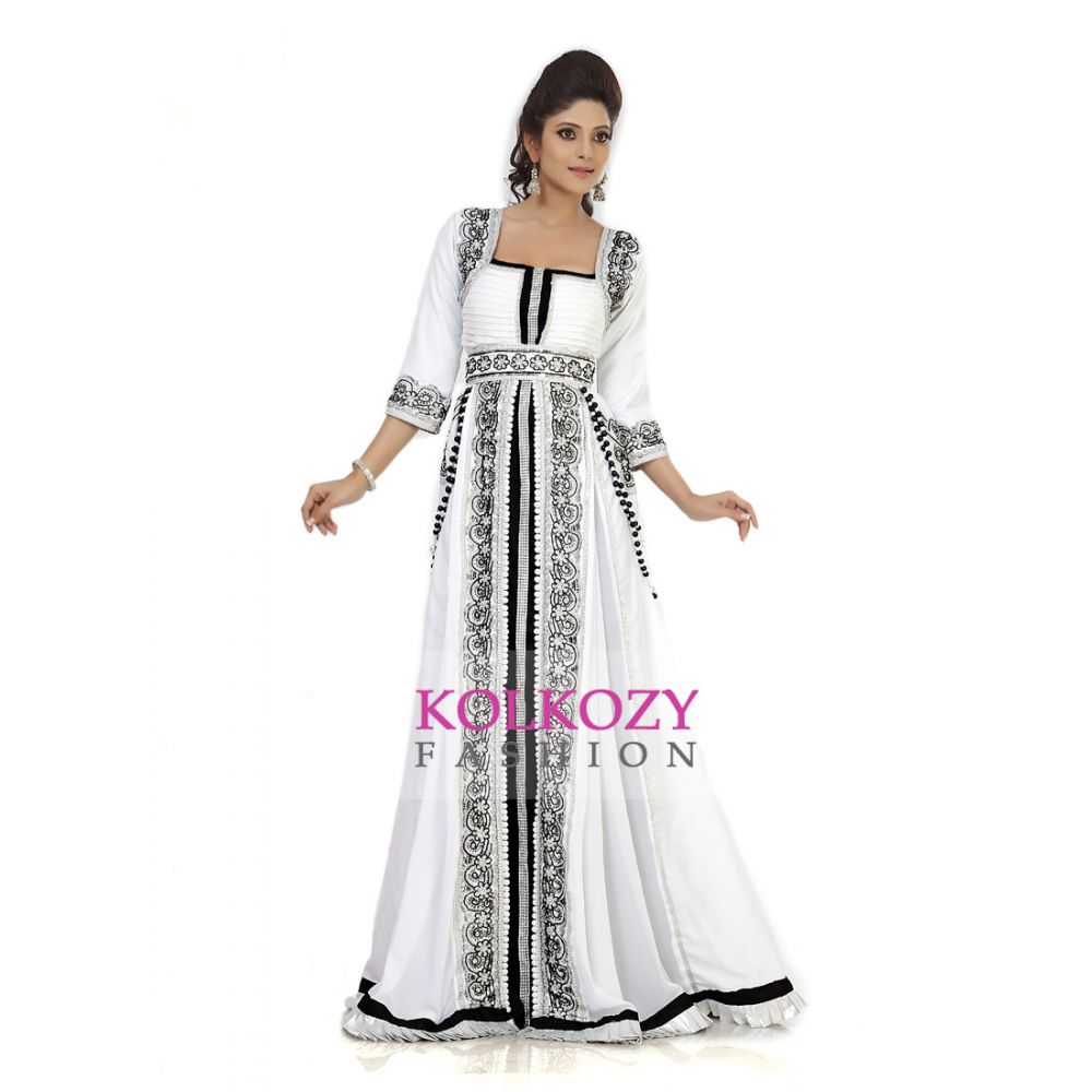 Extraordinary White & Black Color Jacket Style Moroccan Kaftan