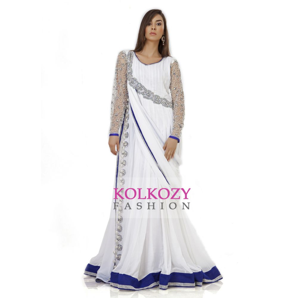 Elegance White & Blue Embroidered Designer Kaftan