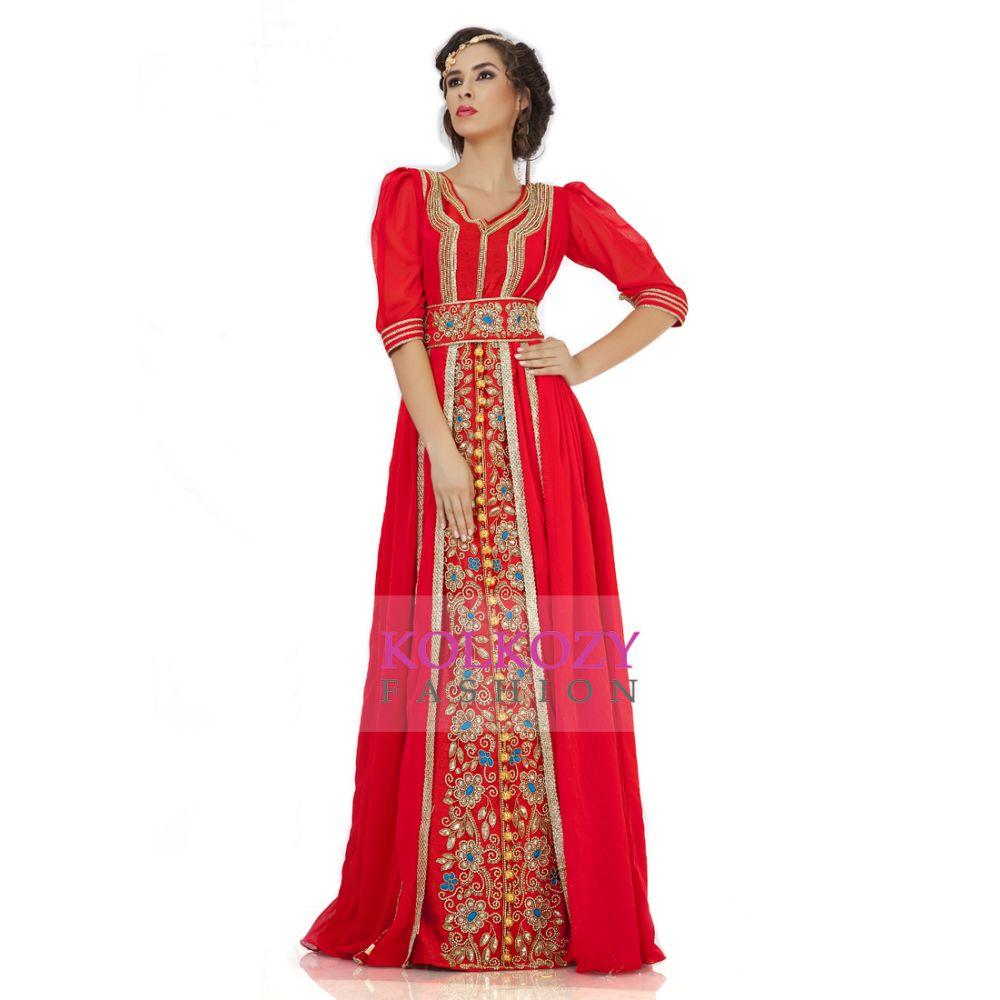 Attractive Dark Red Jacket Style Moroccan Wedding Caftan