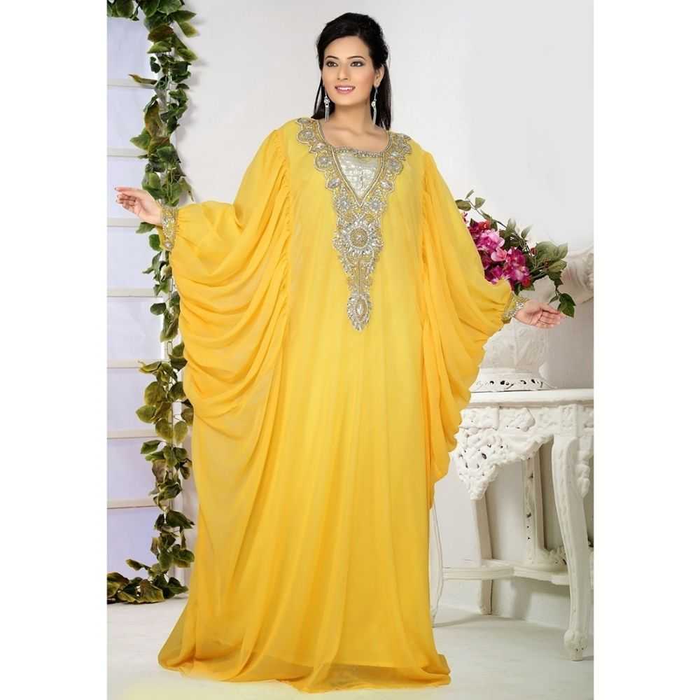 Womens Kaftan Yellow color Partywear