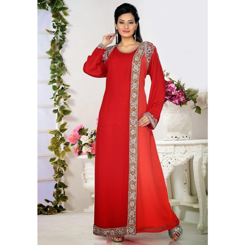Womens Kaftan Red color Arabic Evening wear