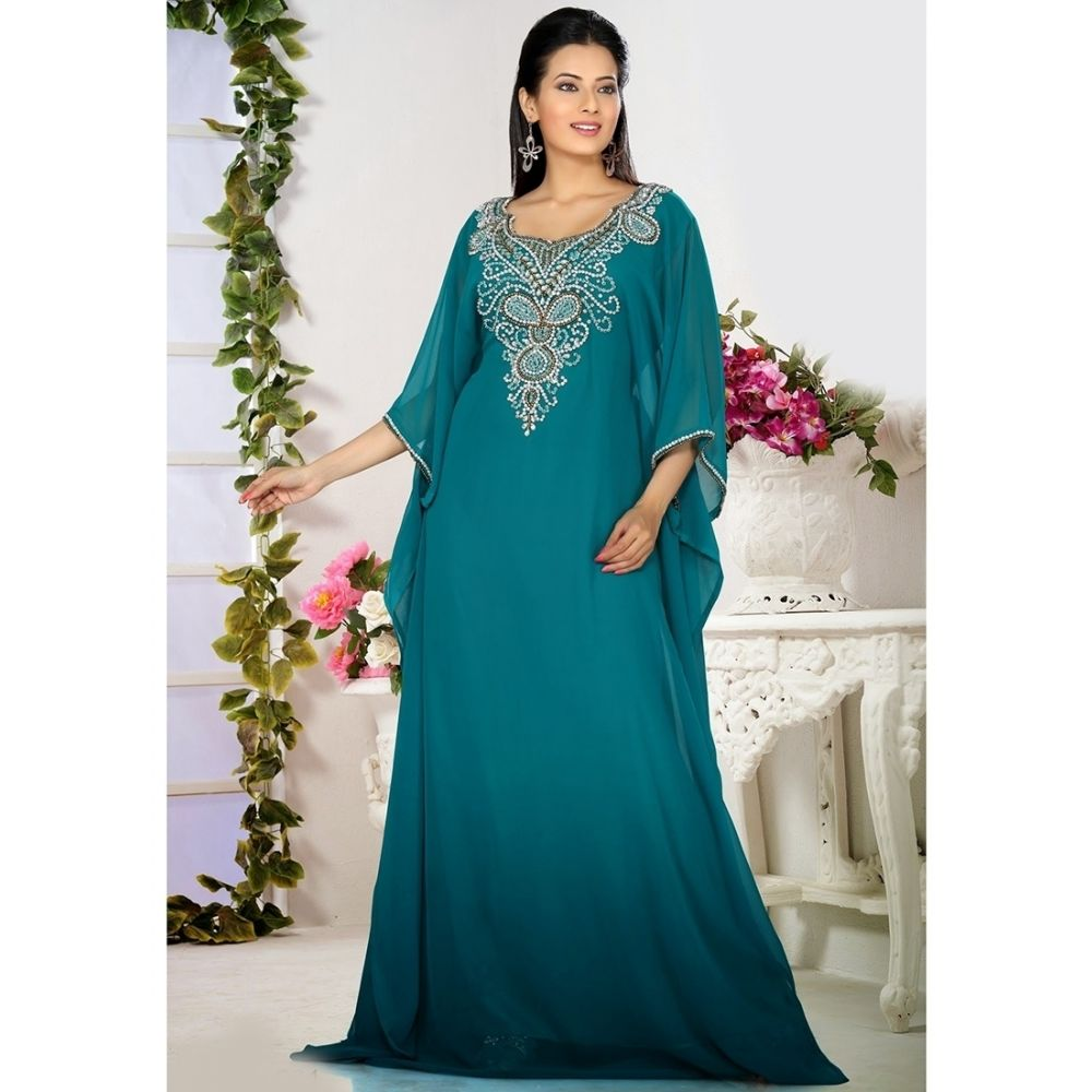 Womens Kaftan Blue color Saudi Arabic style