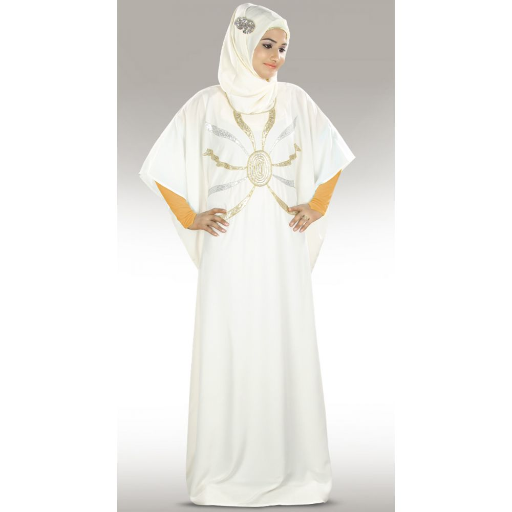 Womens Abaya White Color Marvelous