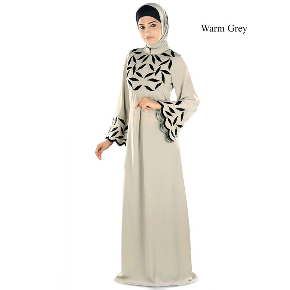 Womens Abaya Fancy Grey Color