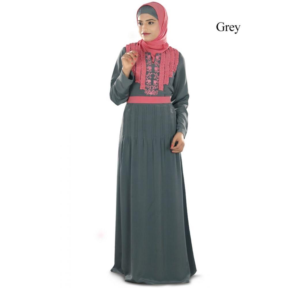 Womens Abaya Grey Color Modest Maxi