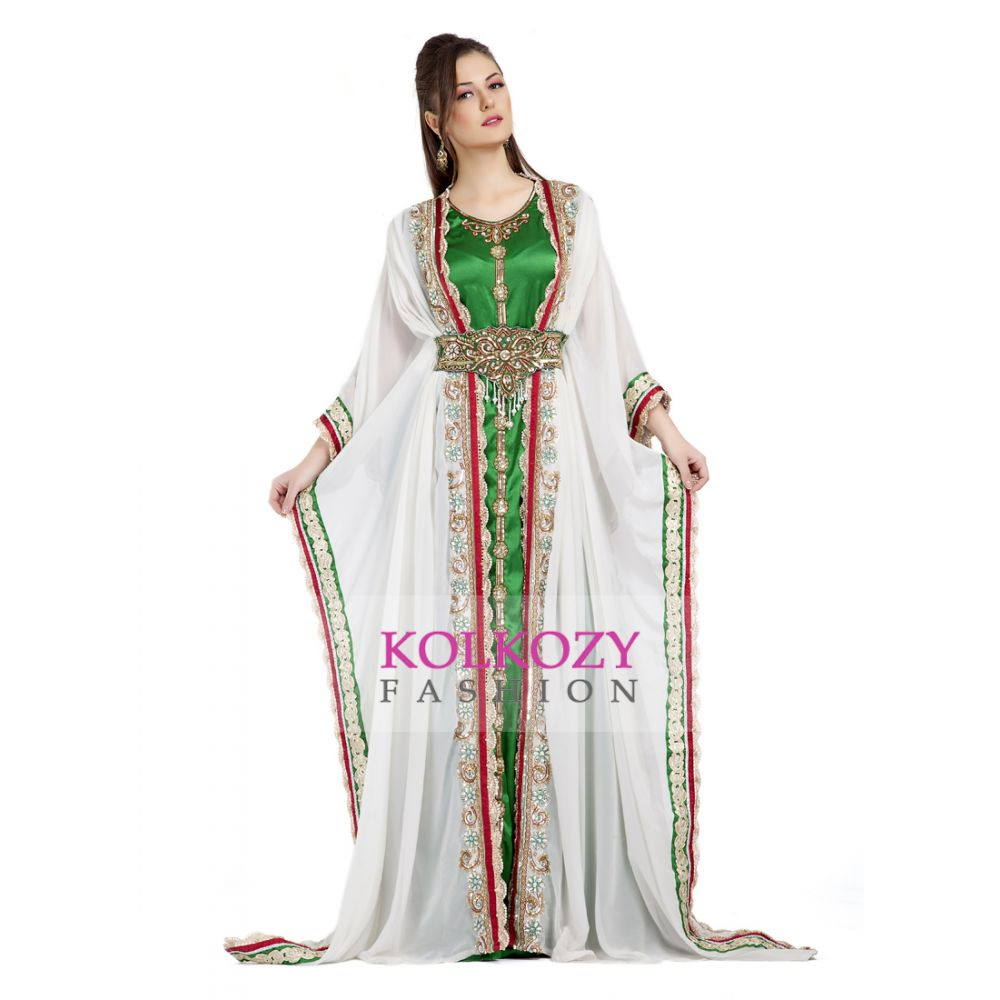 Contemporary Fancy Long Length White Moroccan Takchita Kaftan