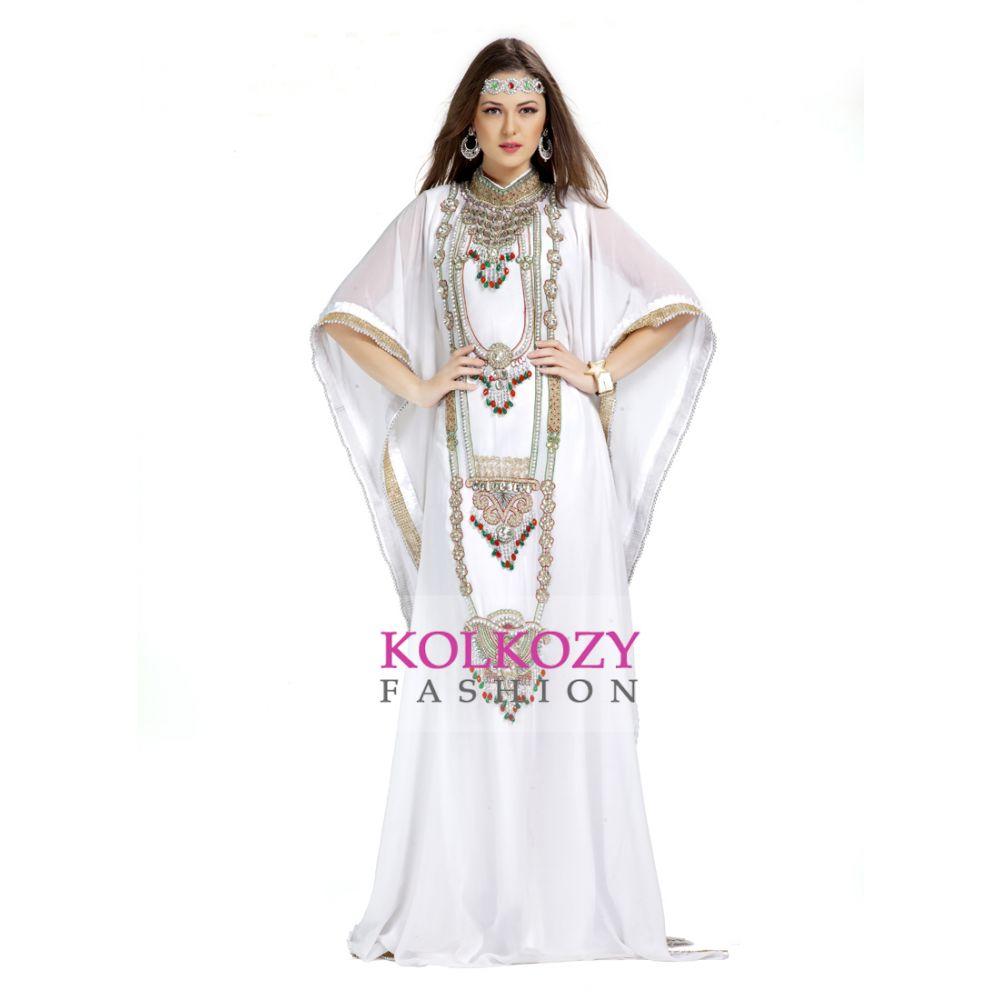 Designer Stylish And Elegant White Embroidered Arabian Kaftan