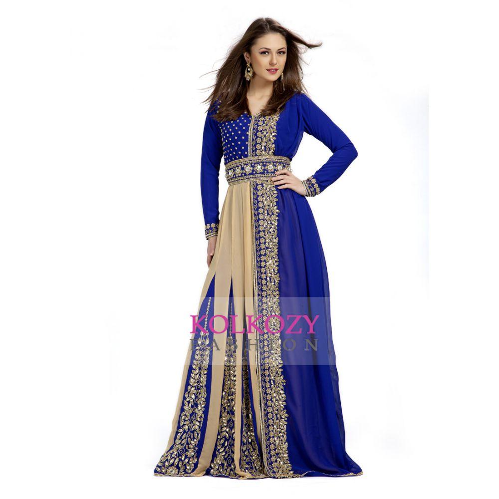 Classic Graceful Blue Wedding Moroccan Takchita Dress