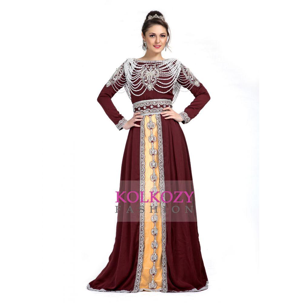 Maroon and Beige color Exclusive Kaftans-Silk Designer Kaftan