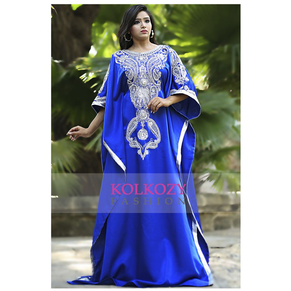 Blue Color Modern Silk Arabic Kaftan - One Size