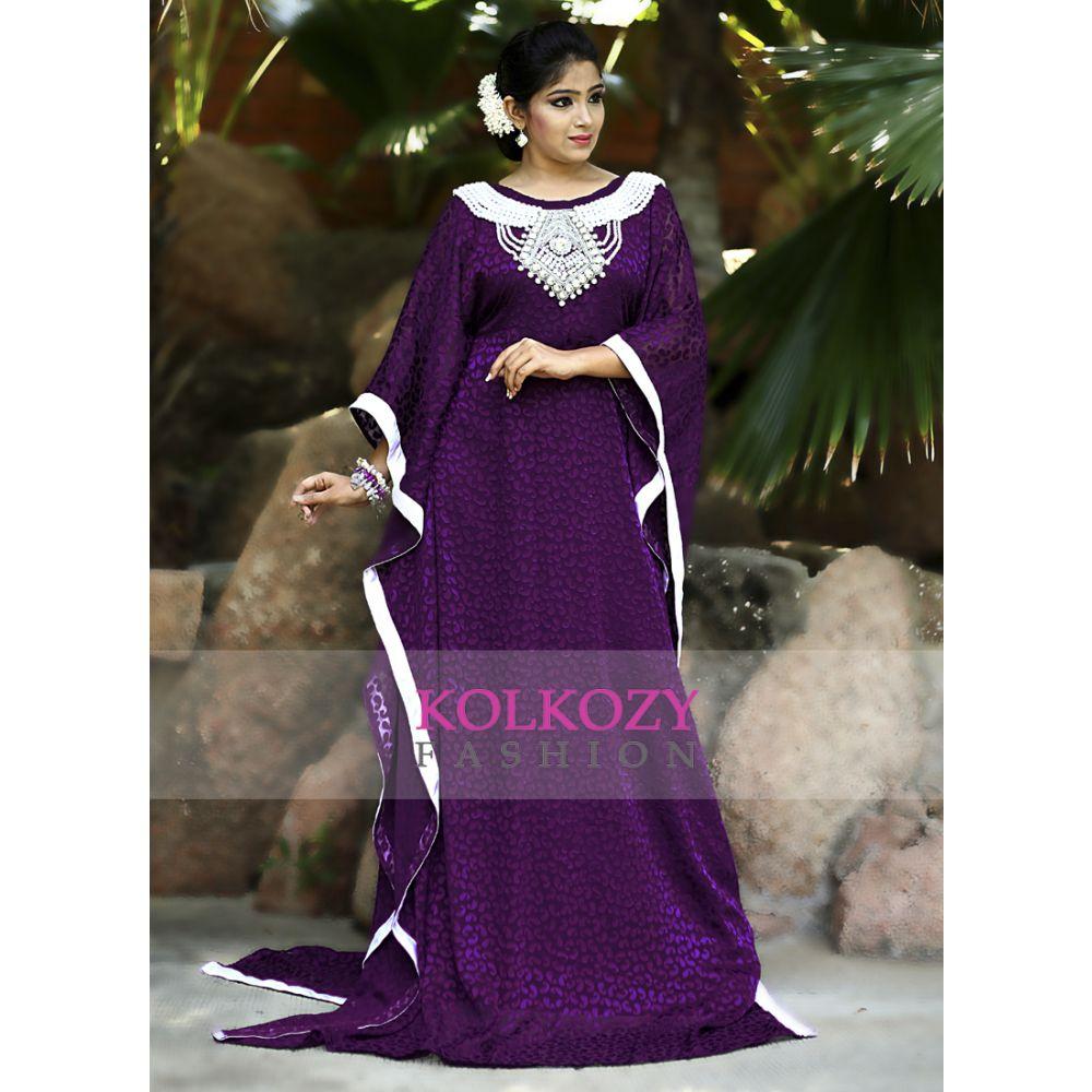 Purple Color Designer Self Printed Kaftan Farasha - One Size