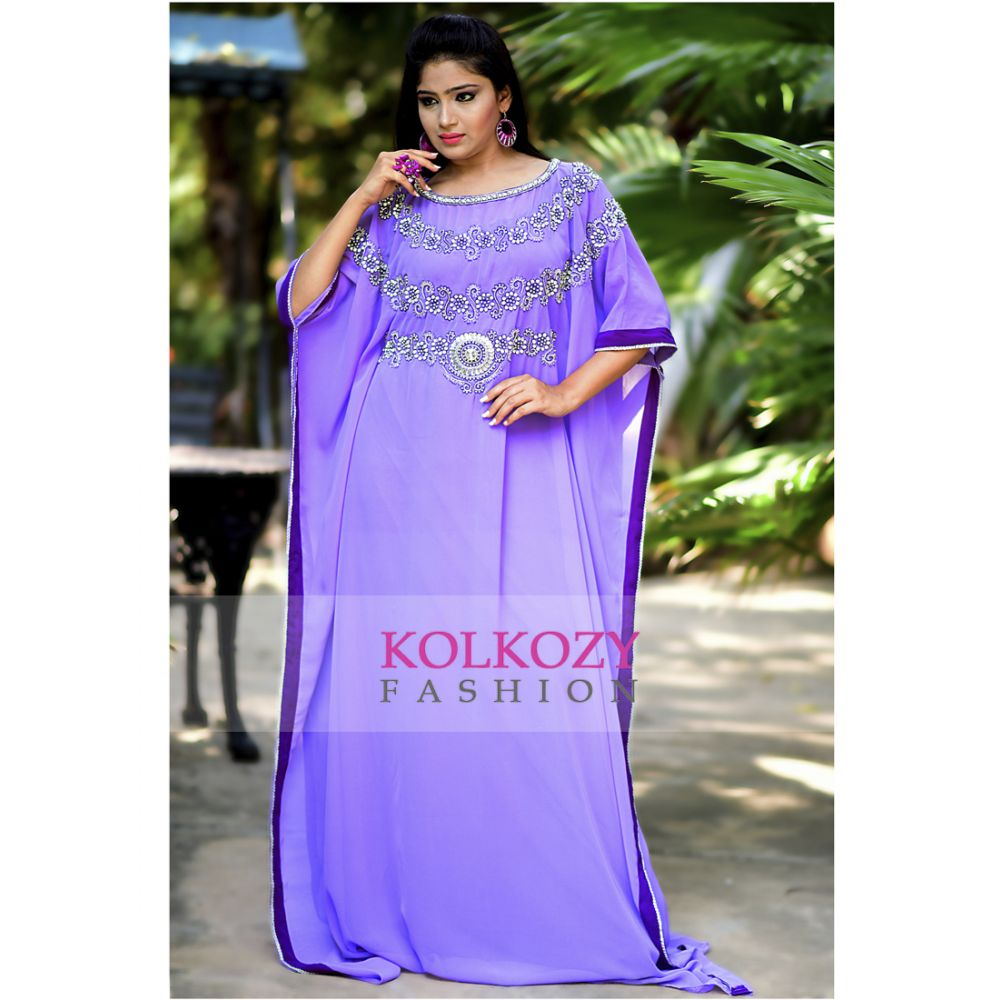 Beautiful Purple Color Georgette Trendy Kaftan Dress - One Size