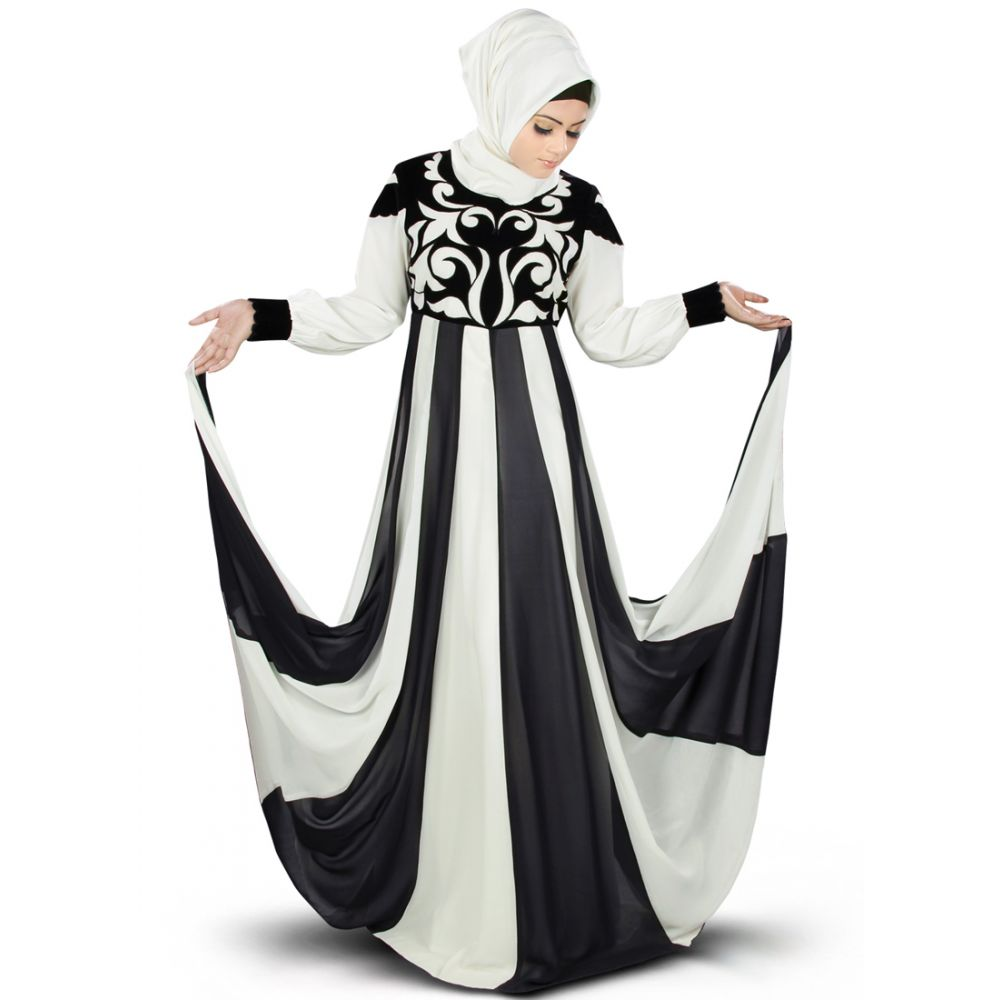 Shurafa Black & Off White Embroidered Abaya Dress - FINAL Sale