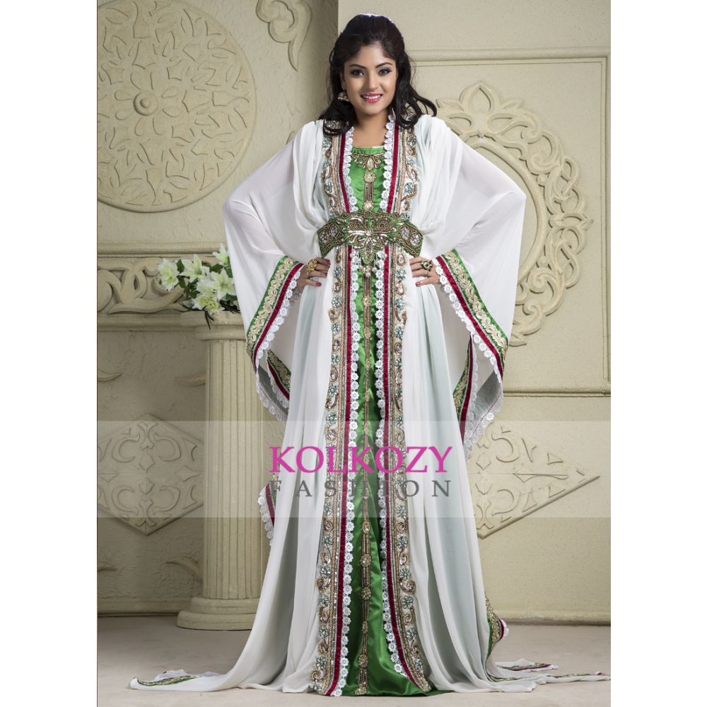 White and Green color Kaftan-Crepe Kaftan