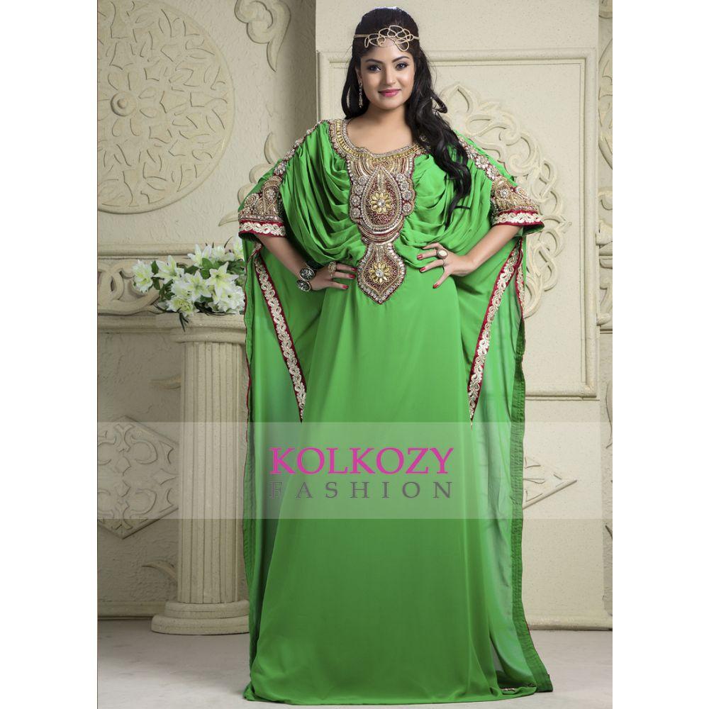 Green color Kaftan-Crepe Kaftan