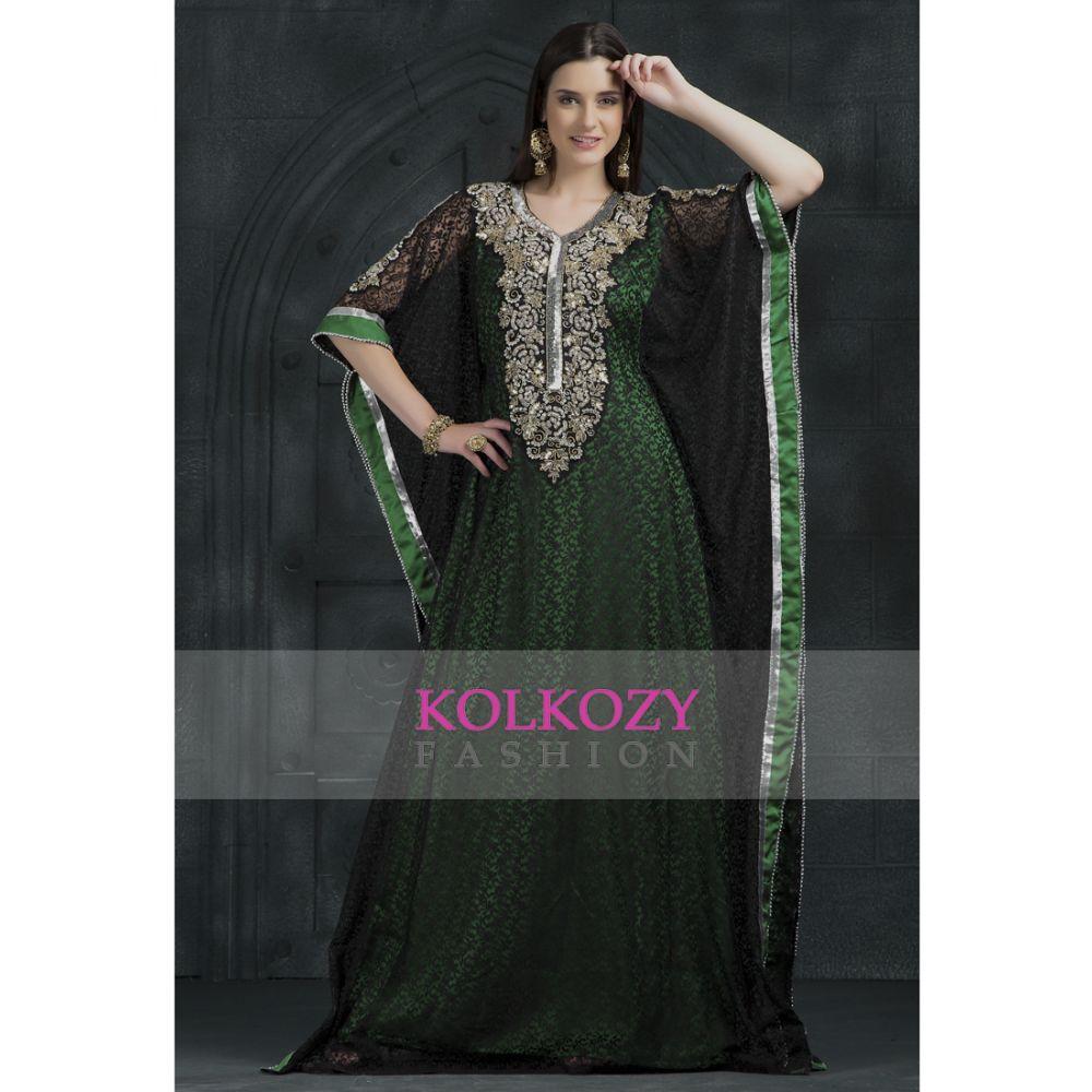 Black and Green color Kaftan-Georgette Kaftan