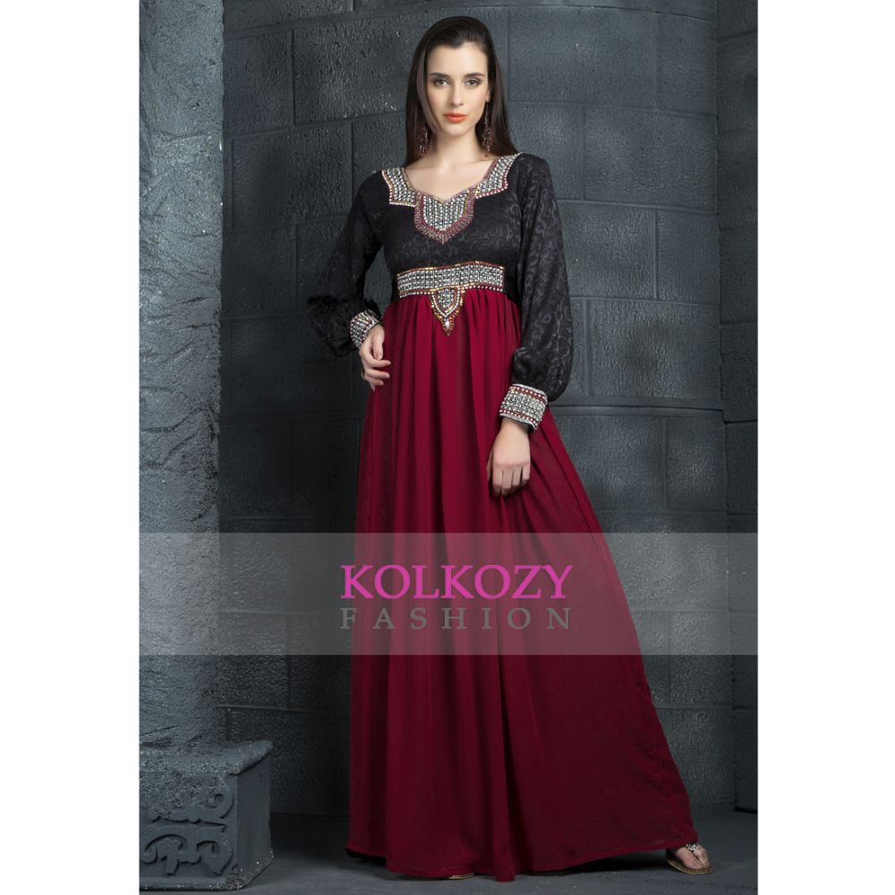 Red and Black color Kaftan-Georgette Kaftan