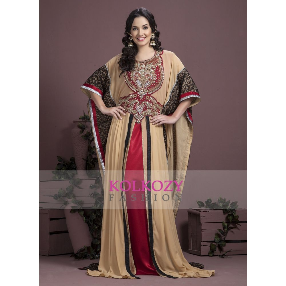 Maroon,Off White and Black color Kaftan-Georgette Kaftan