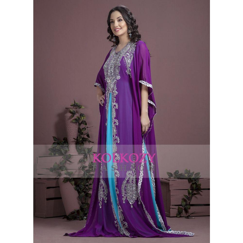Blue and Purple color Kaftan-Georgette Kaftan