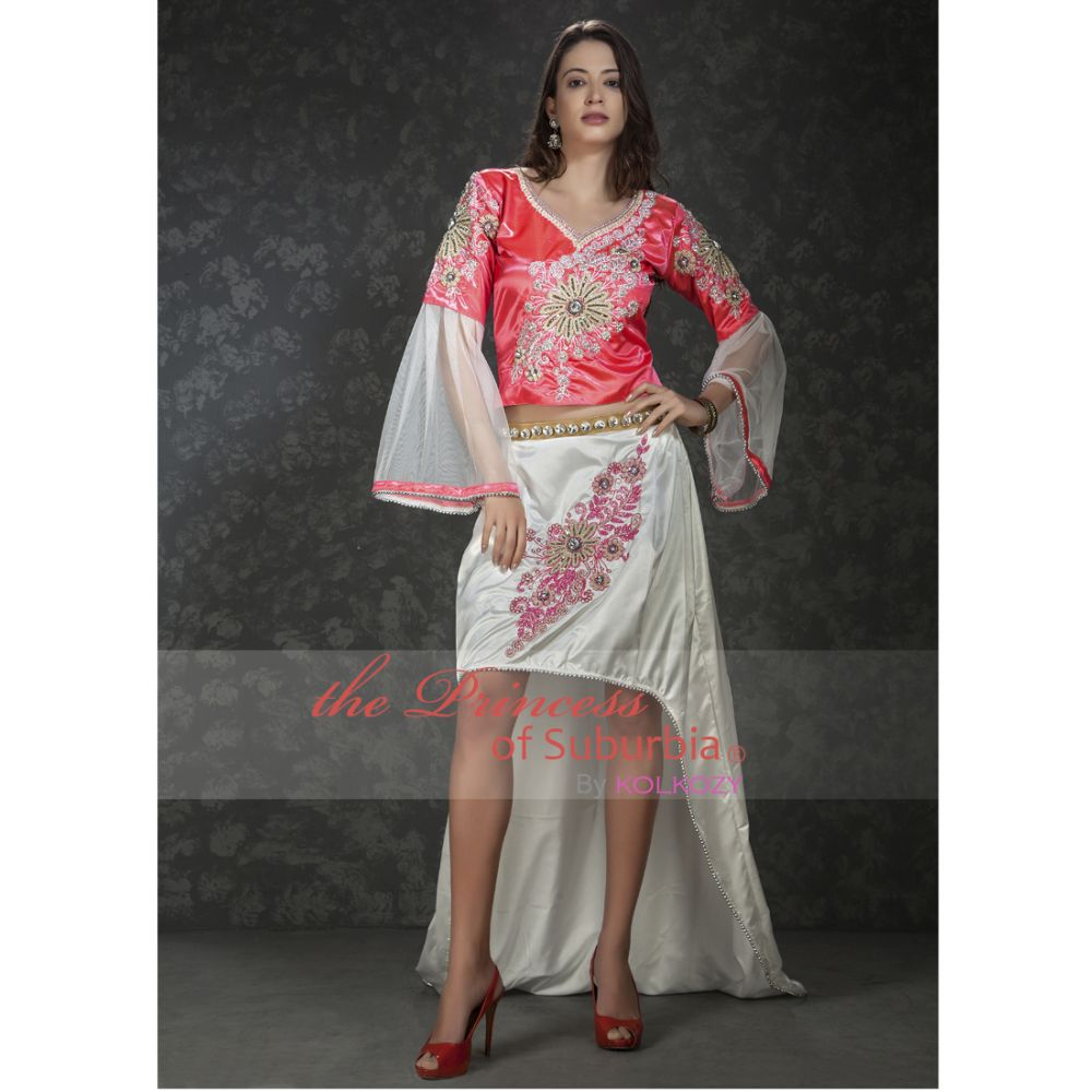 Pink and white color knee length dress with net sleeve
