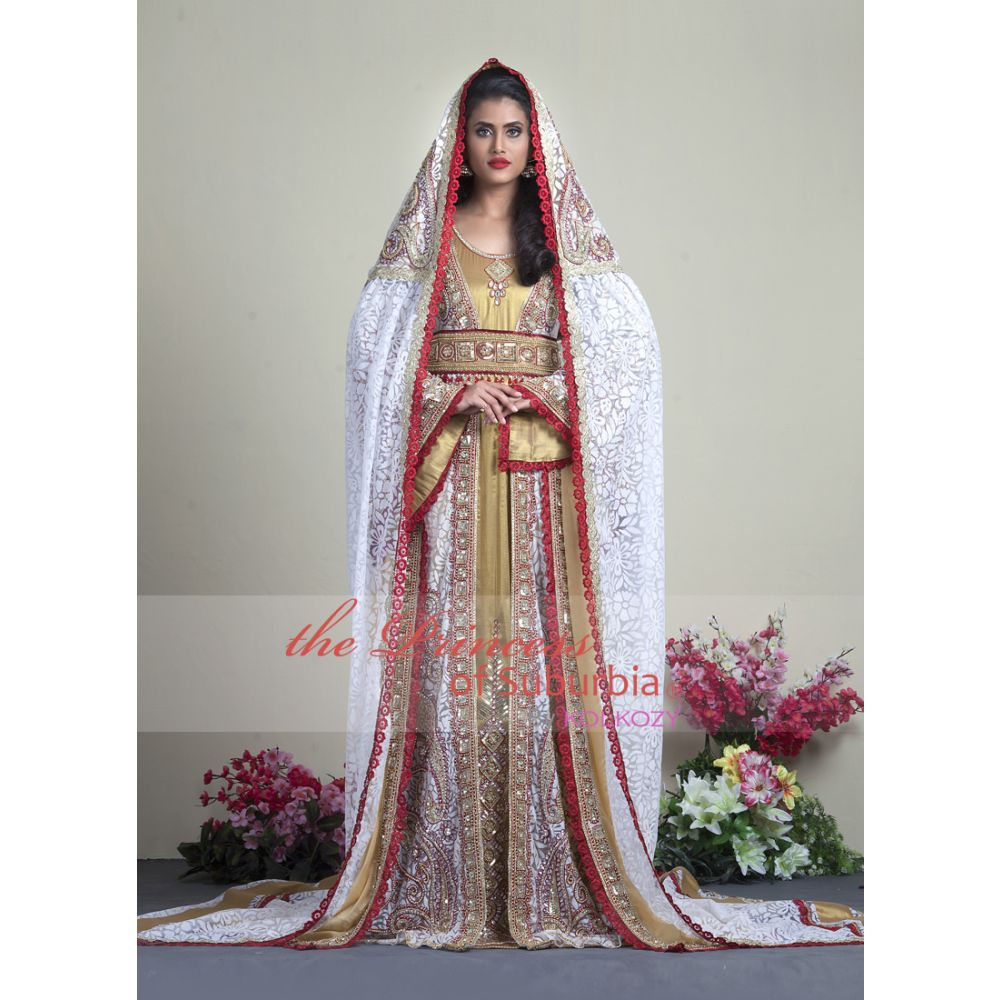 Exclusive Beige Wedding Moroccan Kaftans with Bell sleeve and hand beaded Veil