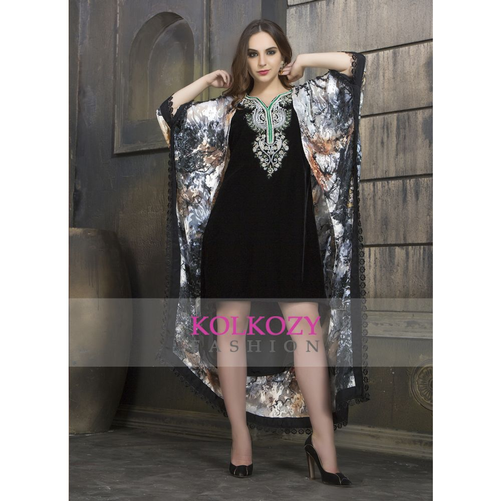 Black and Multi Color Exclusive Printed Western-Dress