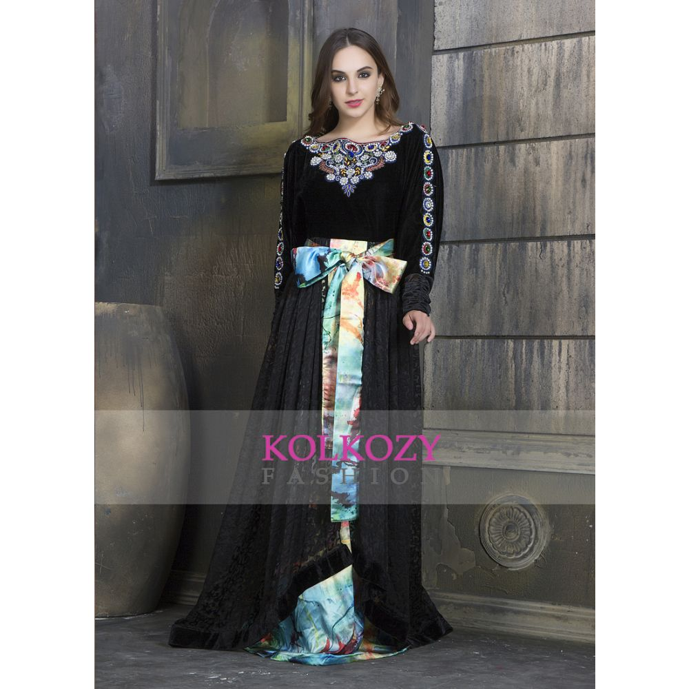 Black and Multi Color Exclusive Printed and Hand beaded Western-Dress
