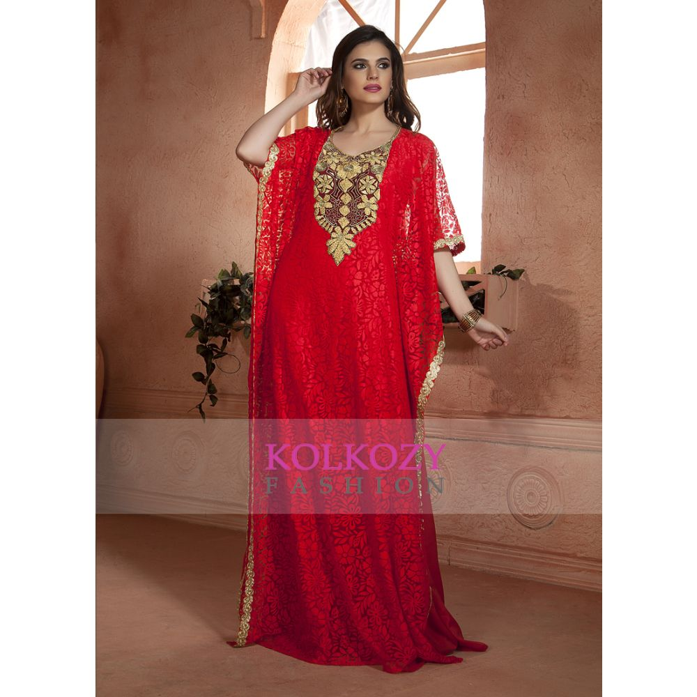 Red color kaftan Arabic Evening Dress with Net Brasso and Thread Work