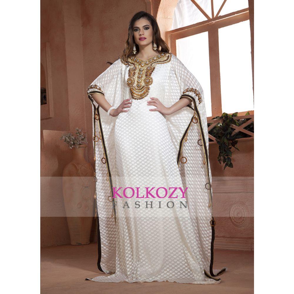 Off White Wood Work Hand beaded Free Size Kaftan Partywear Dubai Dress