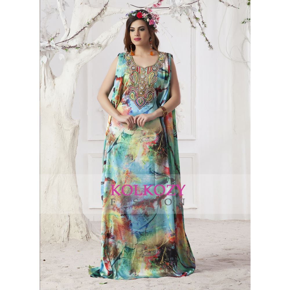 Pastel color  Handmade Kaftan With Gown Style Maxi Dress