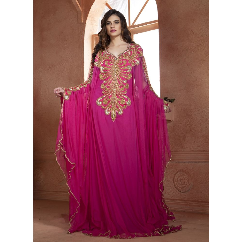 Pink color designer Hand beaded  DUBAI Ladies Long Sleeve  Party Wedding  kaftan