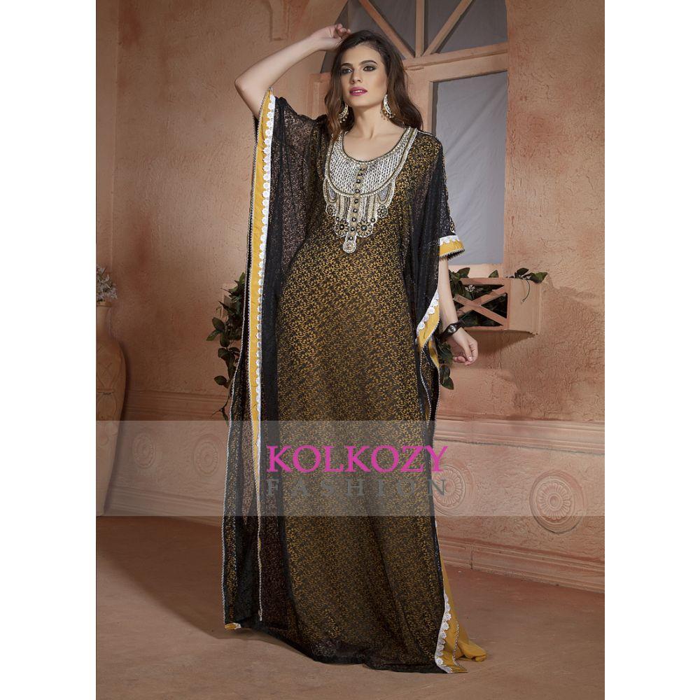 Yellow and Black Net Brasso  Handmade Design Farasha Evening Party Dresses Kaftan