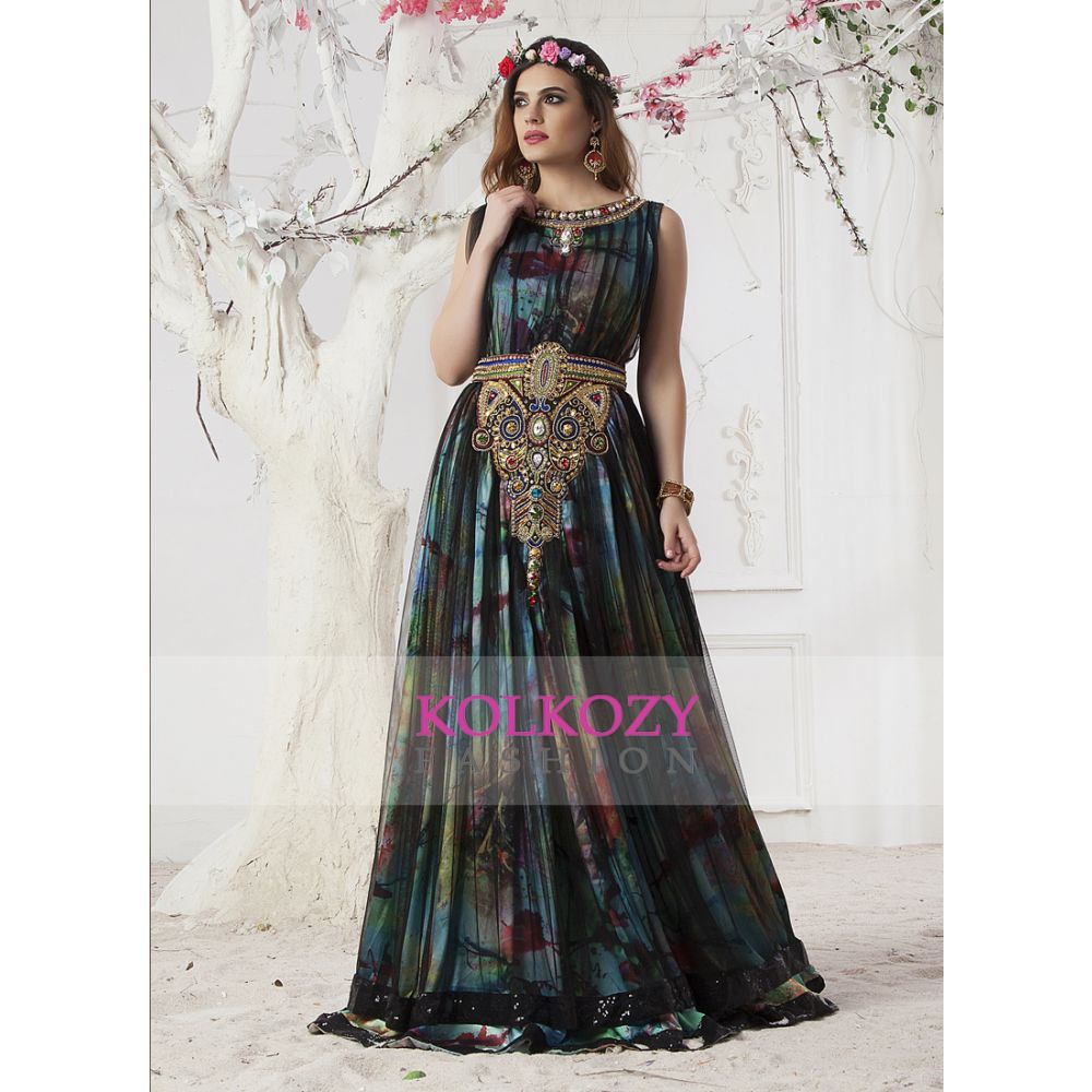 Evening Dress Pastel color and Black Color Gown Arabic dubai party Maxi Dress