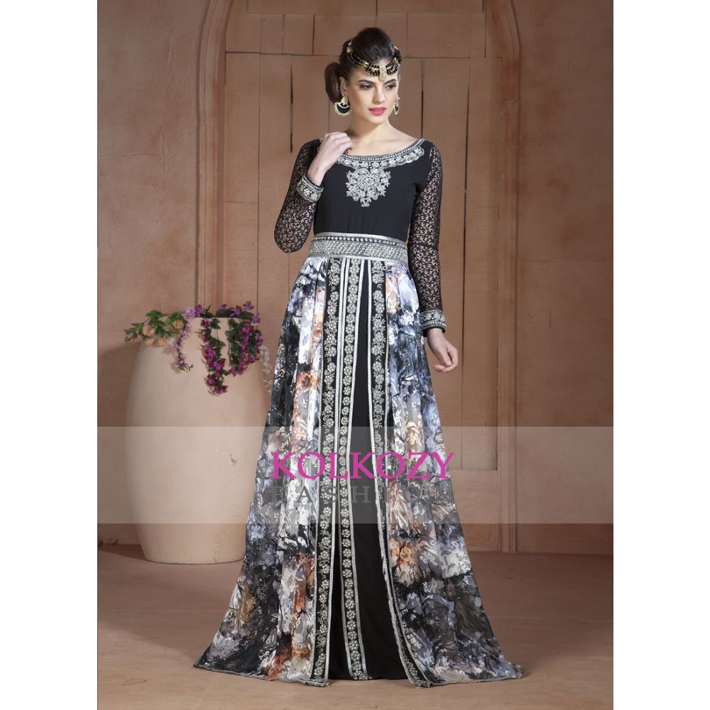 Gleaming Mutil and Black Color Party Wear Full sleeve Black beading around the neck Long Sleeve Kaftan