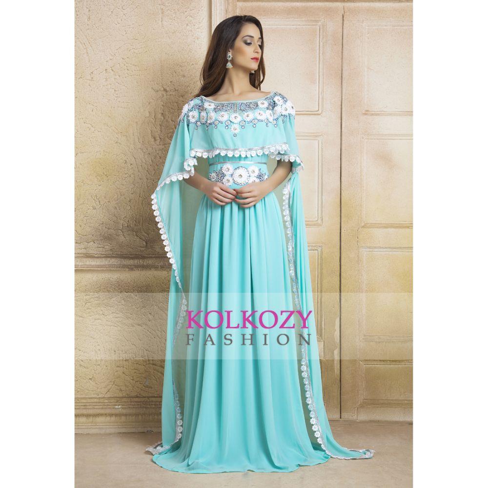 Blue color Kaftan Dress-Georgette Hand beaded Designer Kaftan and Ribbon Work