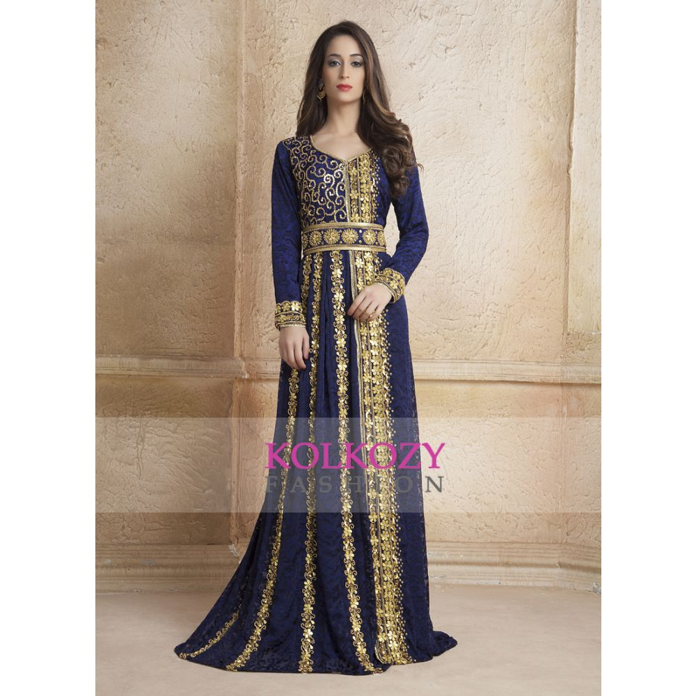 Gleaming Blue Color Party Wear Full sleeve Black beading Kaftan