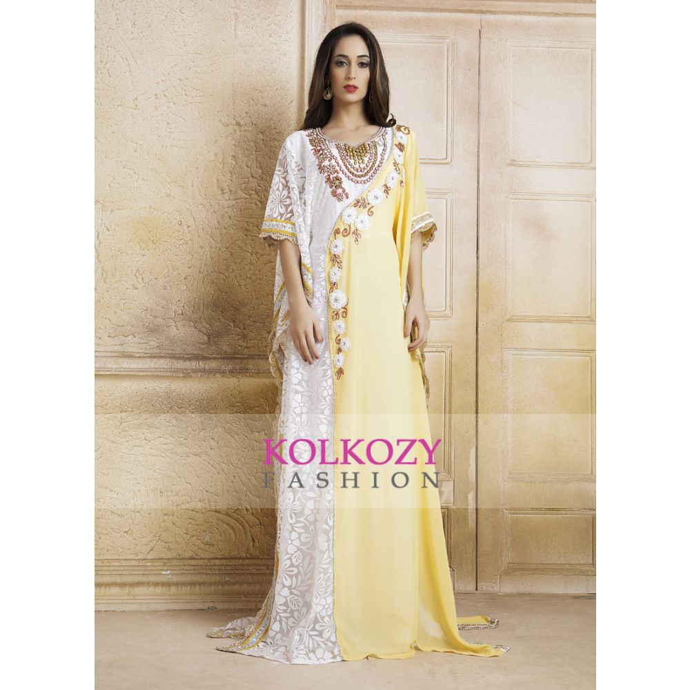 Beige Yellow & White Moroccan Party Wear Handmade Kaftan and Ribbon Work