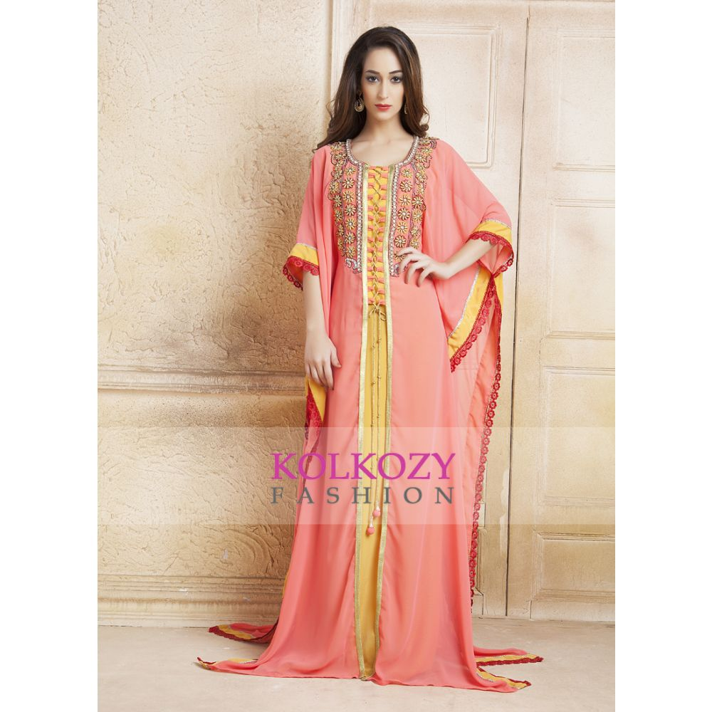 Yellow and Pink color  Handmade Kaftan With Free Size