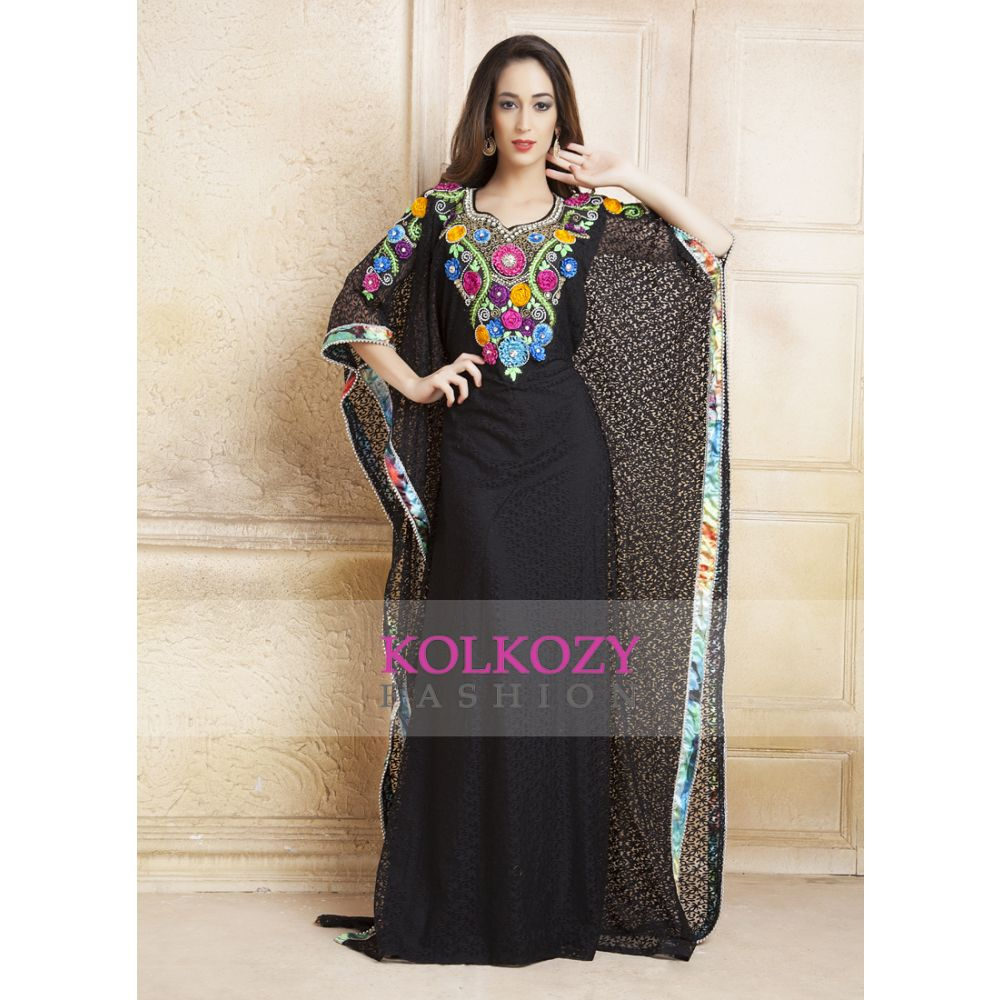 Black color kaftan Arabic Evening Dress with Net Brasso and Thread Work