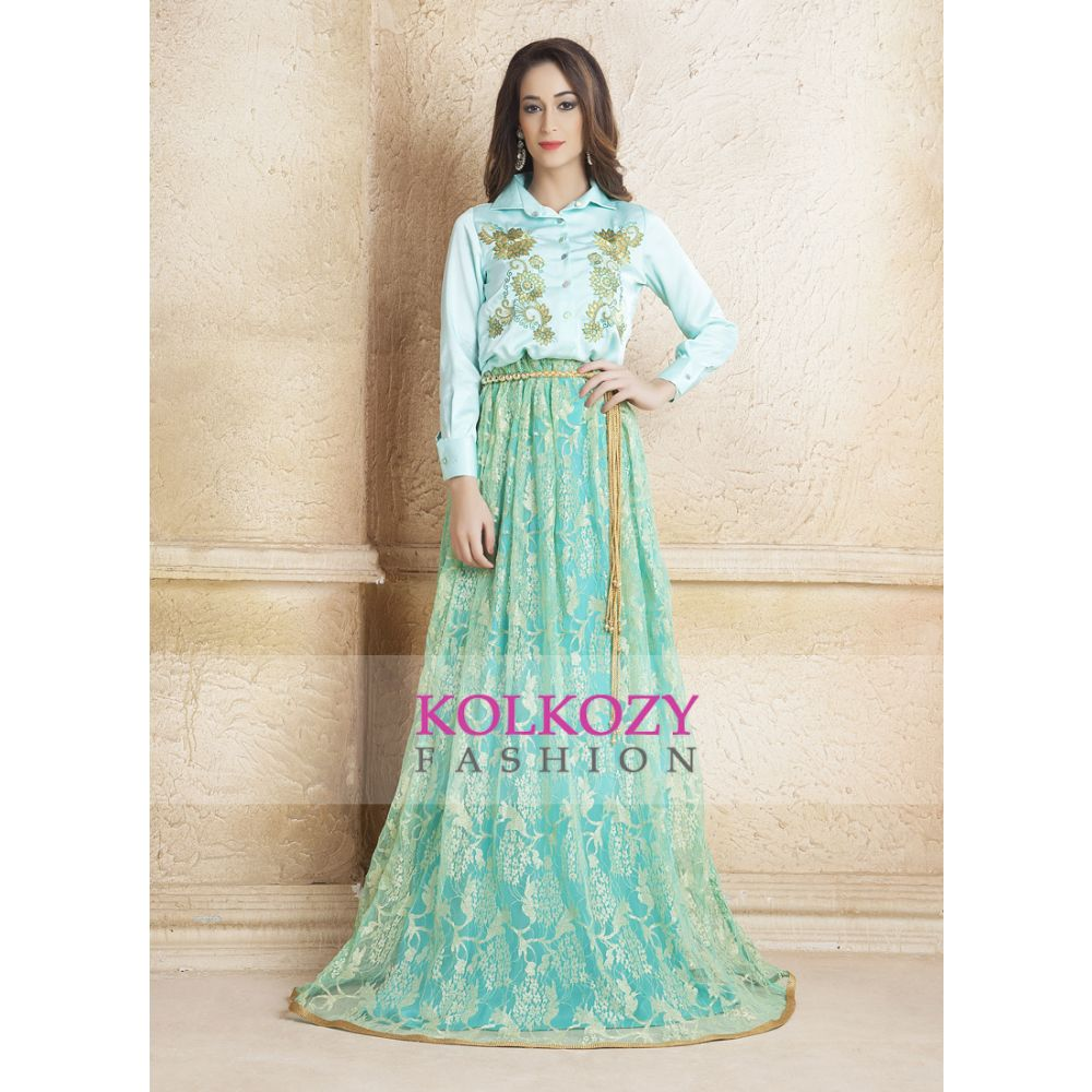 Mint Green color Hand beaded Evening Party Dress kaftan