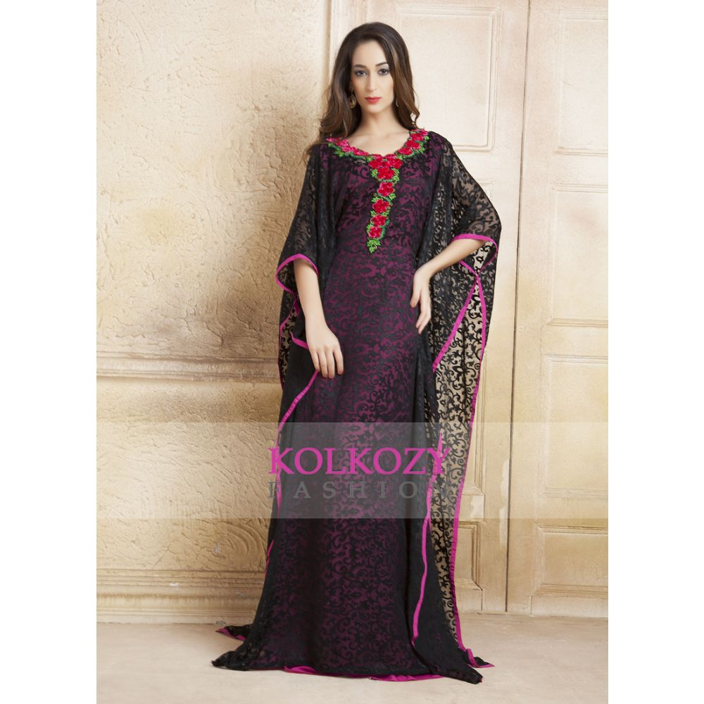 Black and Pink Thread Work and Ribbon Work Free Size Kaftan