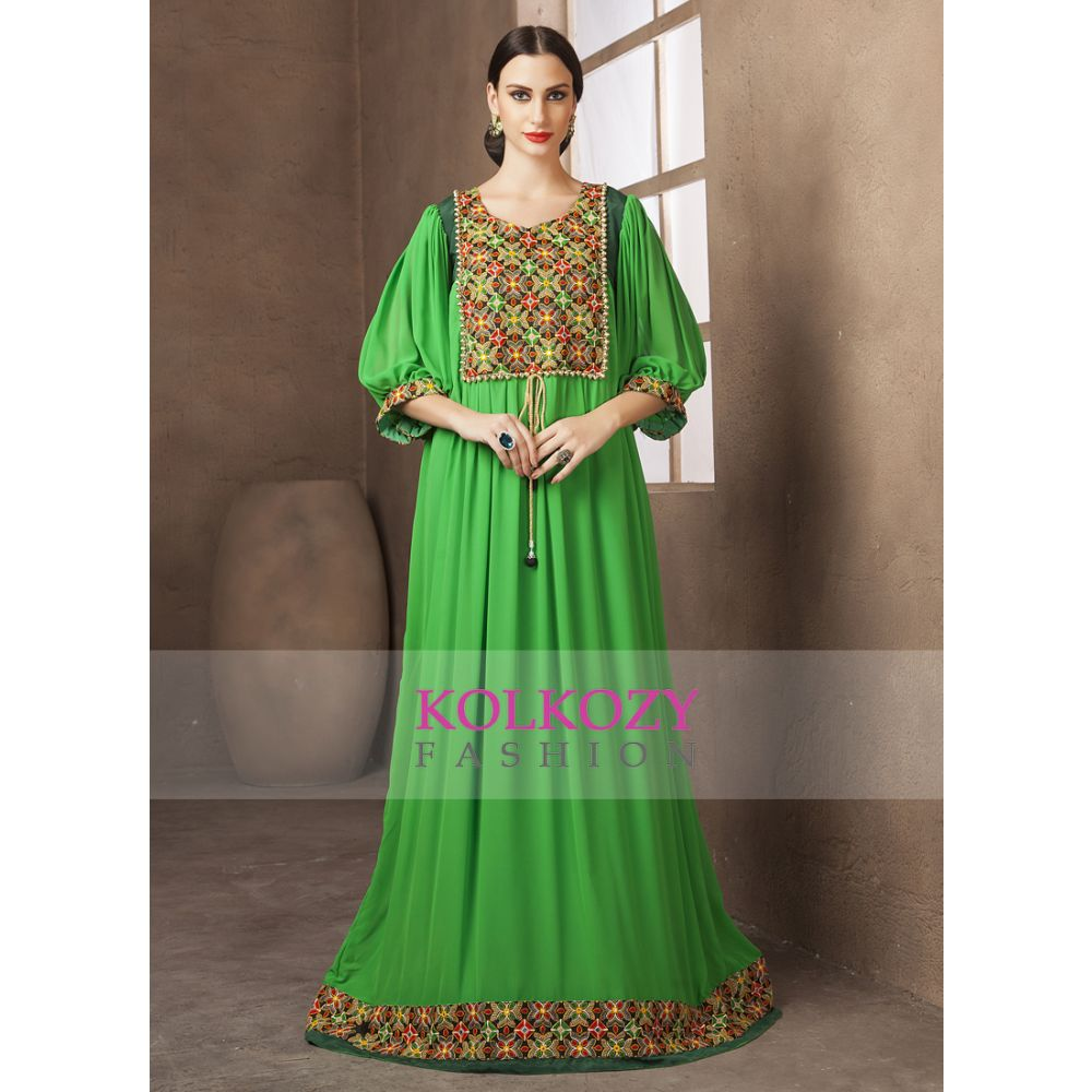 Green Color Embroidery Formal Party Maxi Dress