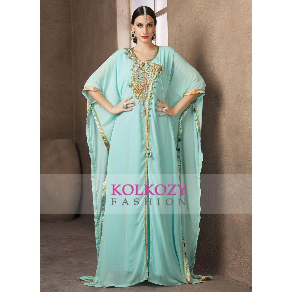 Mint Green Color Handmade Dubai Style Kaftan With Free Size