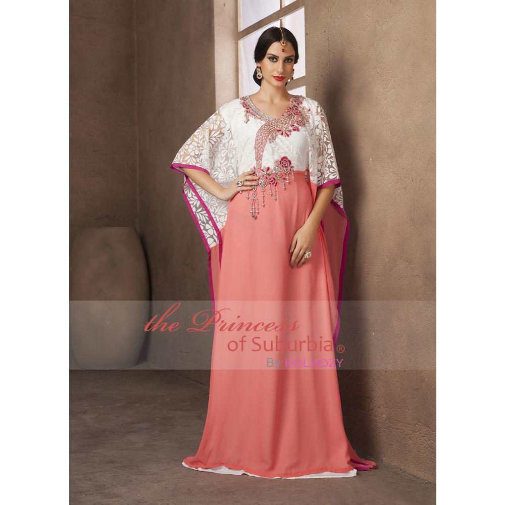Saudi Arabic Style White and Peach Color Handmade Free Size Kaftan