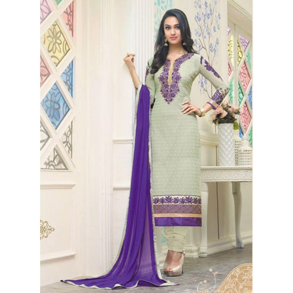 Green color Casual Salwar Kameez-Georgette Salwar Kameez