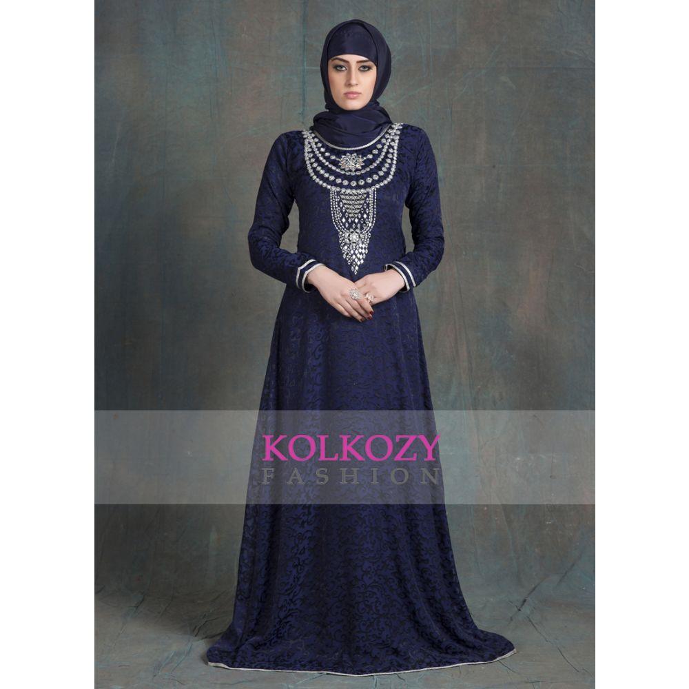 Dark Blue Thread with  Mirror Glass Hand Work  Designer Dubai Kaftan
