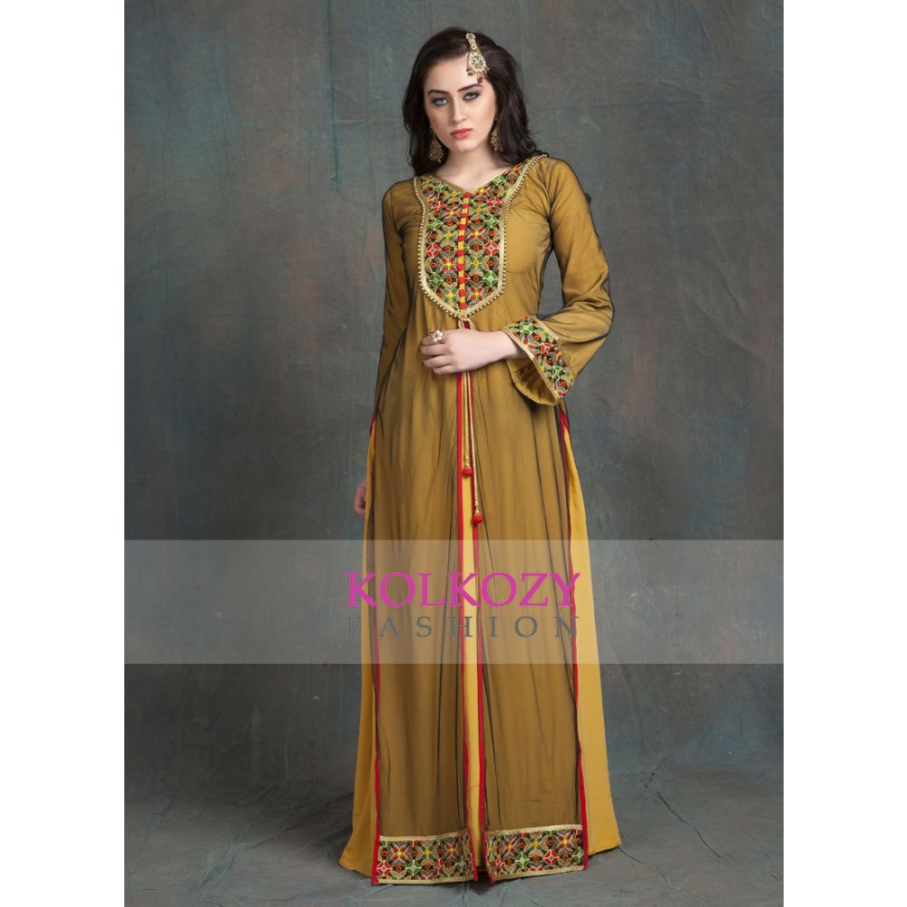 Gold Yellow Modern Style Embroidery Full Sleeve Formal Maxi Dress